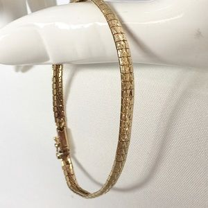 Vintage Milor 14K Gold Faceted Serpentine Bracelet